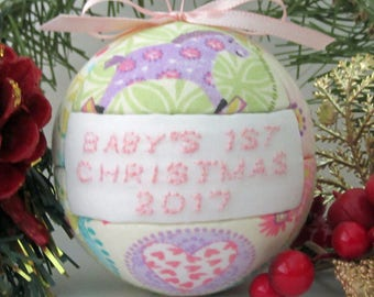 Christmas Ornament Baby Girl Pink Baby's 1st Christmas 2017 Ornament Holiday Tree Decoration by CraftCrazy4U on Etsy