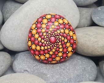 Hand-Painted Stone - Boho - Painted Rock - Red & Orange Mandala Meditation Rock - Painted Stone - Chakra