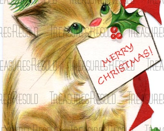 Retro Kitty Cat Christmas Card #114 Digital Download