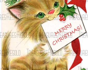 Retro Kitty Cat Christmas Card #114 Digital Download