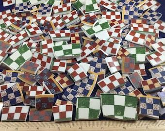 150+ Mixed Broken China Mosaic Tiles in Checker Pattern.