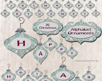 Digital Download Teal Damask Christmas Holiday Ornament Embellishment Alphabet Set - CU -S4H Invitations - Scrapbook-  26 Separate PNG Files