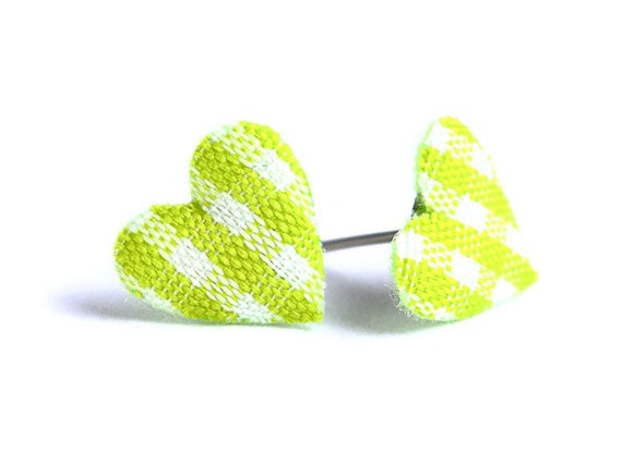 Lime green plaid padded heart fabric hypoallergenic stud earrings READY to ship (454)