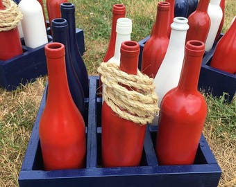 Patriotic Wine Bottle Ring Toss, 4th of July Game, Americana Decor, Painted Wine Bottle Ring Toss, 4th of July Decor, Patriotic Decor