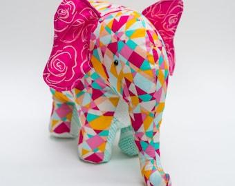 Handmade Plush Elephant (geometric multi)