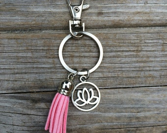 Lotus Tassel Keychain, Gift for her, Birthday Gift, Gift for mom, Gift for wife, Gift for girlfriend, Christmas gift, Stocking Stuffer