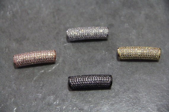 CZ Micro Pave 9x30mm Curve Tube