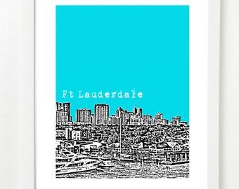 Ft Lauderdale Poster - Ft Lauderdale City Skyline Art Print - Florida Love - Fort Lauderdale