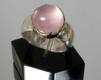 Ring of quartz rose gold 18 K and silver 925 model Queen's crown