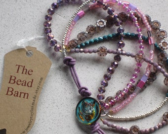 """NEW - Six Strand Hibiscus Flower & Leather Bracelet, Adjustable 6""""-8"""", Purple, Orchid, Turquoise, Pink, Boho, Czech, #3"""