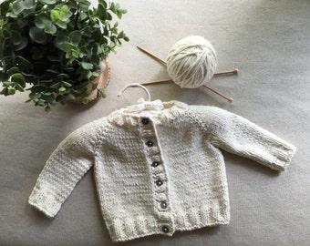 Hand Knit Organic Cotton Baby Cardigan