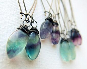 Crystal Dangle Earrings - Boho Crystal Earrings - Gemstone Earrings - Fluorite Earrings - Boho Earrings - Rainbow Fluorite Jewelry
