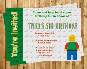 Building Brick Birthday Party Invitation Customized for you DIY or PRINTED