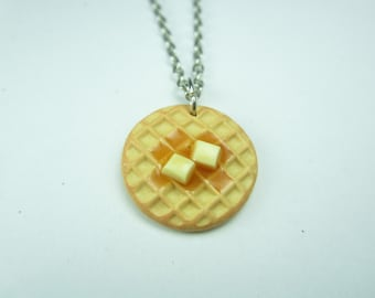 Waffle Necklace - Food jewelry food necklace, best friend gift, Parks and Rec, Parks and Recreation