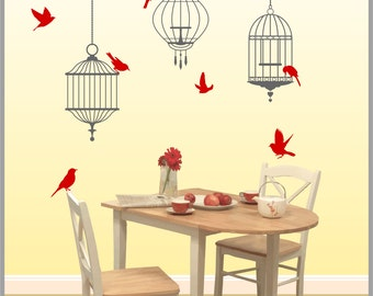 BIRDCAGES with Birds Vinyl Wall Decals A-105