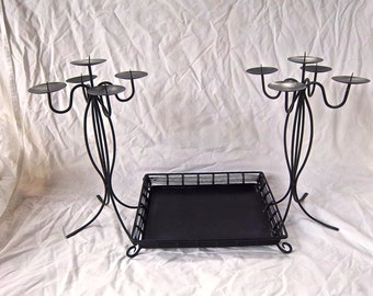 Vintage Painted Black Table Centerpiece Candle Stands Footed Metal Tray Vintage Home and Living Vintage Painted Home Decor Dining Kitchen