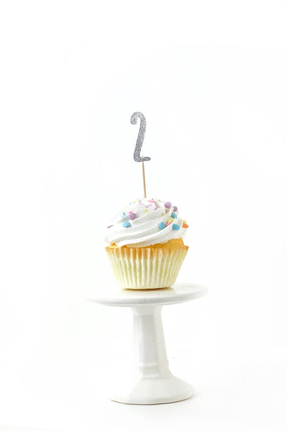 Number 2 Silver Glitter Cupcake Toppers, Number 2 Toothpicks, Silver Party Decor, Food Decoration, Second Birthday, Two, 2nd Birthday