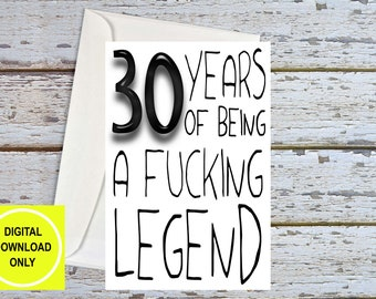 Funny 30th Birthday, 30th Birthday For Him, 30th For Husband, 30th For Brother, 30th For Boyfriend, 30th Birthday Card, Printable