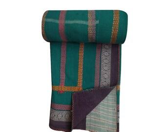 Indian Vintage Handmade Kantha Quilt Sari Patchwork Kantha Quilt