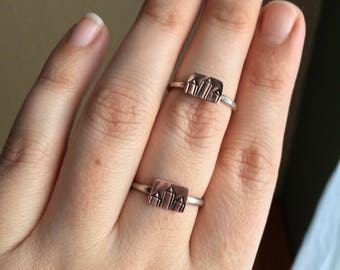 Choose Your Size// Copper Crystal Cluster Sterling Silver Ring