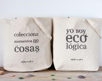 Pack 2 Tote bag grande lona algodón natural