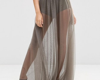 Adult Tulle See Through Skirt Floor Length