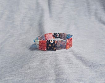 Millefiori Beaded Stretch Bracelet, Millefiori Bracelet, Red Bracelet, Blue Bracelet, Red and White Bracelet, Girls Bracelet