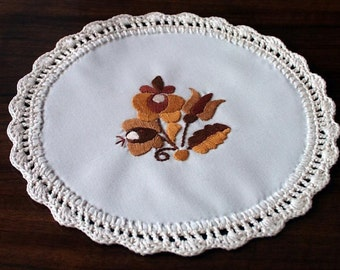 "Hand-embroidered 8"" Hungarian coaster, doily, Matyo Embroidery from Hungary"