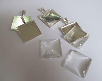 DIY pendant kit ~ square Cabochon kit ~ jewellery making ~ jewellery kit ~ Cabochon Setting ~ pendant making kit