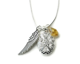 Citrine Yellow Diffuser Necklace-Angel Wing-Diffuser Necklace-Aromatherapy Jewelry