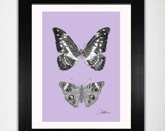 Drucken Sie Schmetterlinge Print Butterfly A4 Instant Download - Monochrome Schmetterlinge lila Boden-ein Hauch von Natur, Ihr Zuhause, tolle Geschenk zu verbessern