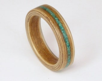 Oak Bent Wood Ring with a crushed Turquoise inlay, Handmade Rings in any UK or US size