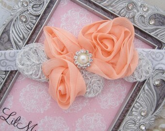 Peach Imperial Lace Chiffon Applique Headband with Pearls and Rhinestones, also white, ivory, grey, pink, black or tan by Lil Miss Sweet Pea