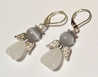 White Opal Angel Fairy Earrings - Christmas Gift - Czech Glass Love Heart Beads Silver Plated Wings