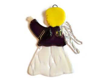 Fused Glass Angel Christmas Ornament, Glass Suncatcher, Purple, Babies First Christmas, Glass Angel