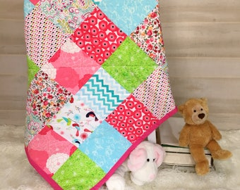 Baby Girl Quilt - Toddler Quilt - Unique Baby Gift - Baby Shower Gift - Baby Girl Blanket - Crib Blanket Girl - Customized Baby Quilt