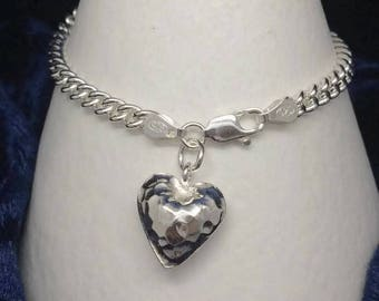 Silver Heart Charm Bracelet, Sterling Silver Hammered Heart Bracelet, Bridal Jewelry, 925 Silver Bracelet, 925 Jewellery Gift For Her