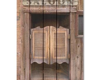 Saloon Doors on Wood, Indoor Outdoor Safe Art, Wall Decor, Home Decor, Wall Hanging, Man Cave Western Art. (SD1624/2836)