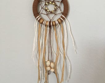 Mini 6cm diameter Dreamcatcher in the Colours Brown, Gold & White with Beads.