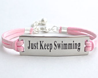 """Stainless Steel """" Just Keep Swimming """" Bracelet - Faux Suede Leather Cord - Affirmation Charm Bracelet - Gift For Her , ST755"""
