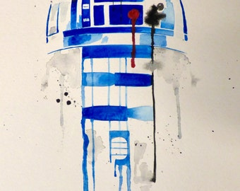 R2D2 Watercolor Painting