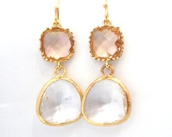 Glass Earrings, Peach Earrings, Crystal Earrings, White, Beige, Champagne, Gold, Wedding, Bridesmaid Earrings, Bridesmaid Gifts