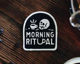 Morning Ritual Patch - Coffee Patch - Iron On Patch - Patches - Food Patch - Skull Patch - embroidered patch - food art - Appliqué Patches