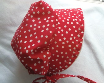 size 12 to 18 months Baby bonnet Sunhat Sunbonnet RED and White polka dot print