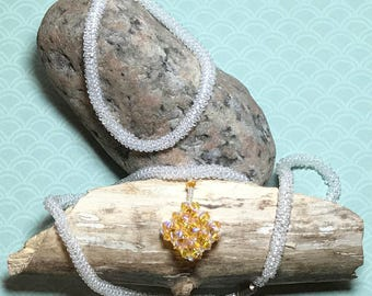 Beaded Necklace Set White Rope Necklace Yellow Bead Pendant Crystal Bead Pendant Pendant Necklace Set Beadwoven Necklace