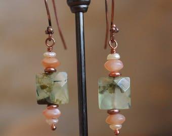 Moss agate and moonstone pearl earrings