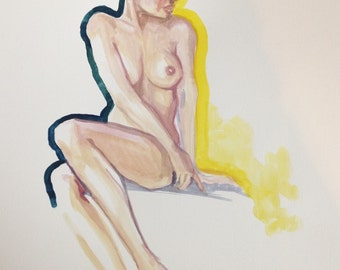 Original LARGE gouache figure study