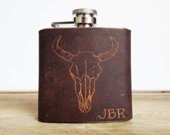Bison Leather Flask - Personalized initials, Bison Skull -  brown leather, wedding hip flasks
