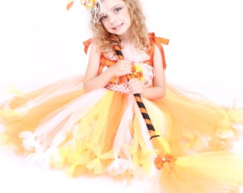COMPLETE COSTUME - Ready to Ship: Petti Tutu Dress - Halloween Candy Corn Witch - Yellow Orange White - Simply Sweet - 5-6 Youth Girl