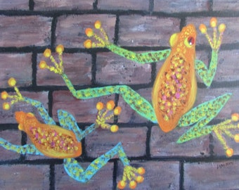 Frogs Modern Art Acrylic Painting 12 x 16 Stretched Canvas